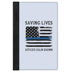 Blue Line Police Genuine Leather Passport Cover (Personalized)