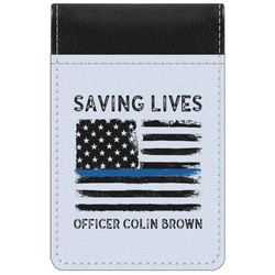 Blue Line Police Genuine Leather Small Memo Pad (Personalized)