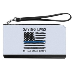 Blue Line Police Genuine Leather Smartphone Wrist Wallet (Personalized)
