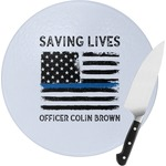 Blue Line Police Round Glass Cutting Board (Personalized)