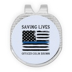 Blue Line Police Golf Ball Marker - Hat Clip