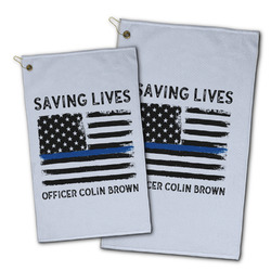 Blue Line Police Golf Towel - Full Print w/ Name or Text