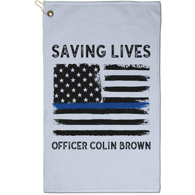 Blue Line Police Golf Towel - Full Print - Small w/ Name or Text
