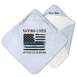 Blue Line Police Hooded Baby Towel (Personalized)