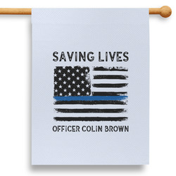 """Blue Line Police 28"""" House Flag - Double Sided (Personalized)"""