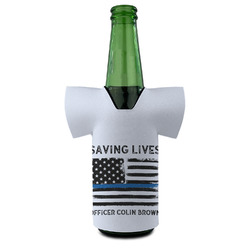 Blue Line Police Bottle Cooler (Personalized)