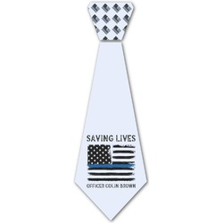 Blue Line Police Iron On Tie (Personalized)