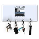 Blue Line Police Key Hanger w/ 4 Hooks (Personalized)