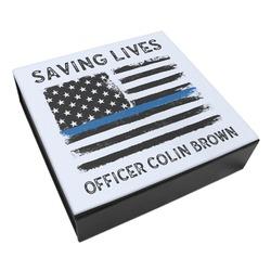 Blue Line Police Leatherette Keepsake Box - 8x8 (Personalized)