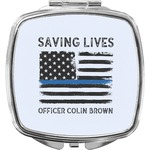 Blue Line Police Compact Makeup Mirror (Personalized)