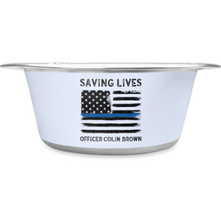Blue Line Police Stainless Steel Dog Bowl (Personalized)