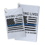 Blue Line Police Microfiber Golf Towel (Personalized)