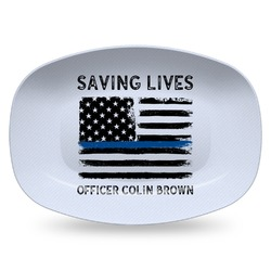 Blue Line Police Plastic Platter - Microwave & Oven Safe Composite Polymer (Personalized)