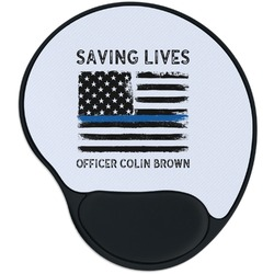 Blue Line Police Mouse Pad with Wrist Support