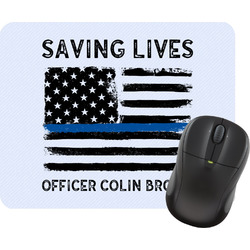Blue Line Police Rectangular Mouse Pad (Personalized)
