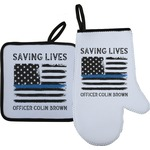 Blue Line Police Oven Mitt & Pot Holder (Personalized)
