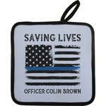 Blue Line Police Pot Holder w/ Name or Text