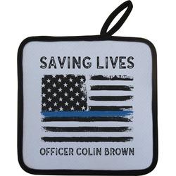 Blue Line Police Pot Holder (Personalized)