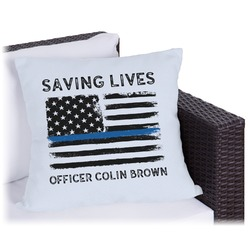 Blue Line Police Outdoor Pillow (Personalized)