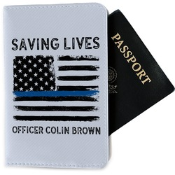 Blue Line Police Passport Holder - Fabric (Personalized)