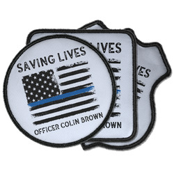 Blue Line Police Iron on Patches (Personalized)