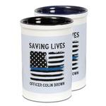 Blue Line Police Ceramic Pencil Holder - Large