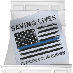 Blue Line Police Blanket (Personalized)