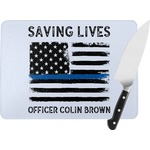 Blue Line Police Rectangular Glass Cutting Board (Personalized)