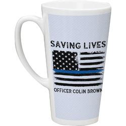 Blue Line Police 16 Oz Latte Mug (Personalized)