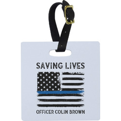 Blue Line Police Square Luggage Tag (Personalized)