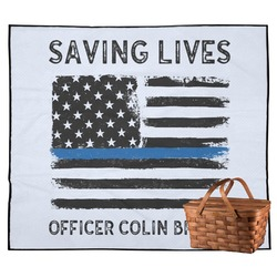 Blue Line Police Outdoor Picnic Blanket (Personalized)