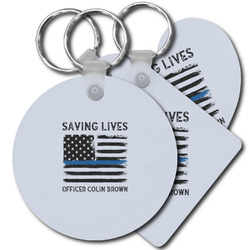 Blue Line Police Plastic Keychains (Personalized)