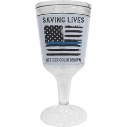 Blue Line Police Wine Tumbler - 11 oz Plastic (Personalized)