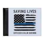 Blue Line Police Genuine Leather Guest Book (Personalized)