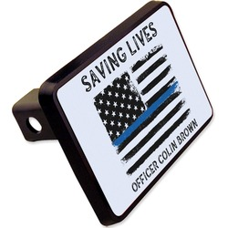 "Blue Line Police Rectangular Trailer Hitch Cover - 2"" (Personalized)"