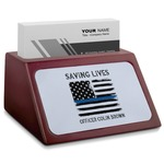 Blue Line Police Red Mahogany Business Card Holder (Personalized)