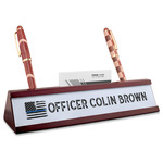 Blue Line Police Red Mahogany Nameplate with Business Card Holder (Personalized)