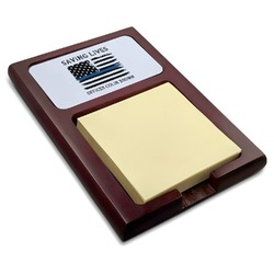 Blue Line Police Red Mahogany Sticky Note Holder (Personalized)