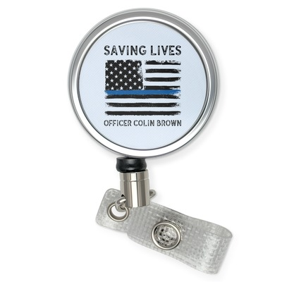 Blue Line Police Retractable Badge Reel (Personalized)
