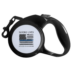 Blue Line Police Retractable Dog Leash (Personalized)