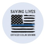 Blue Line Police Round Decal (Personalized)