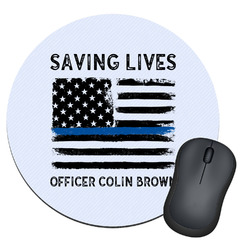 Blue Line Police Round Mouse Pad (Personalized)