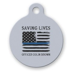 Blue Line Police Round Pet Tag (Personalized)
