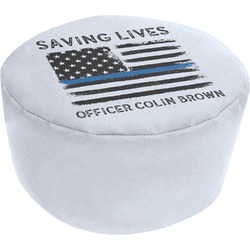 Blue Line Police Round Pouf Ottoman (Personalized)