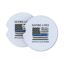 Blue Line Police Sandstone Car Coasters (Personalized)