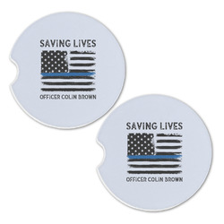 Blue Line Police Sandstone Car Coasters - Set of 2 (Personalized)