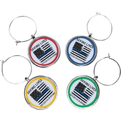 Blue Line Police Wine Charms (Set of 4) (Personalized)