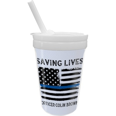 Blue Line Police Sippy Cup with Straw (Personalized)