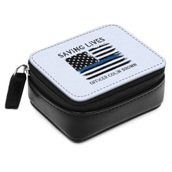 Blue Line Police Small Leatherette Travel Pill Case (Personalized)