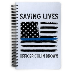 Blue Line Police Spiral Bound Notebook (Personalized)